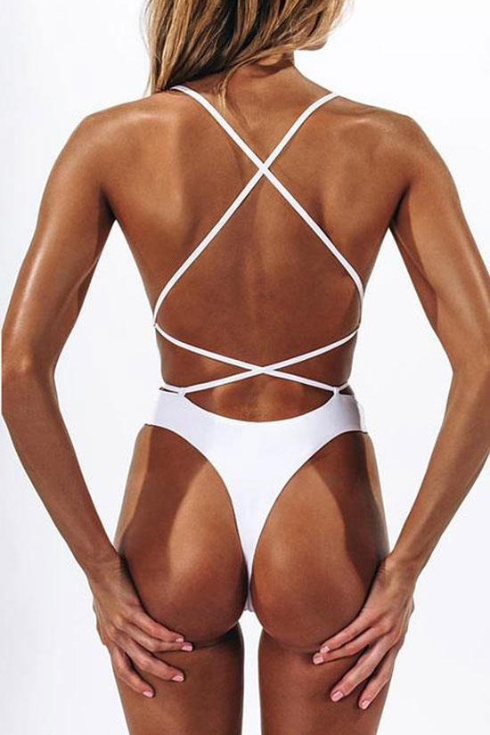 High Leg Cross Strappy Low Back Brazilian Thong One Piece Swimsuit