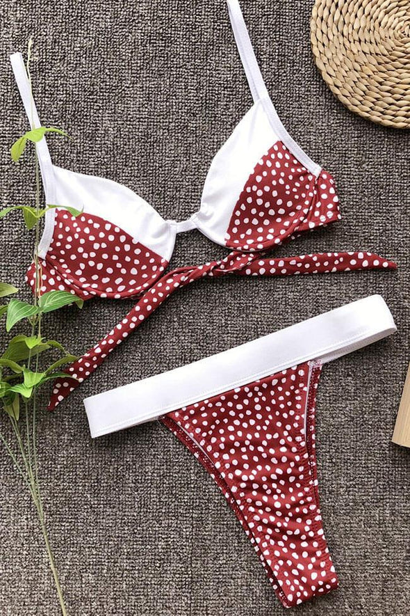 HIGH LEG HIGH WAISTED POLKA DOT UNDERWIRE BRAZILIAN BIKINI - TWO PIECE SWIMSUIT