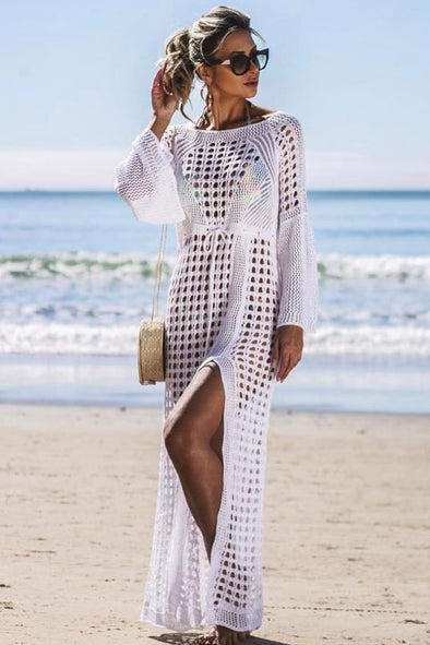 HIGH SPLIT FLARE SLEEVE OPEN KNIT CROCHET COVER UP