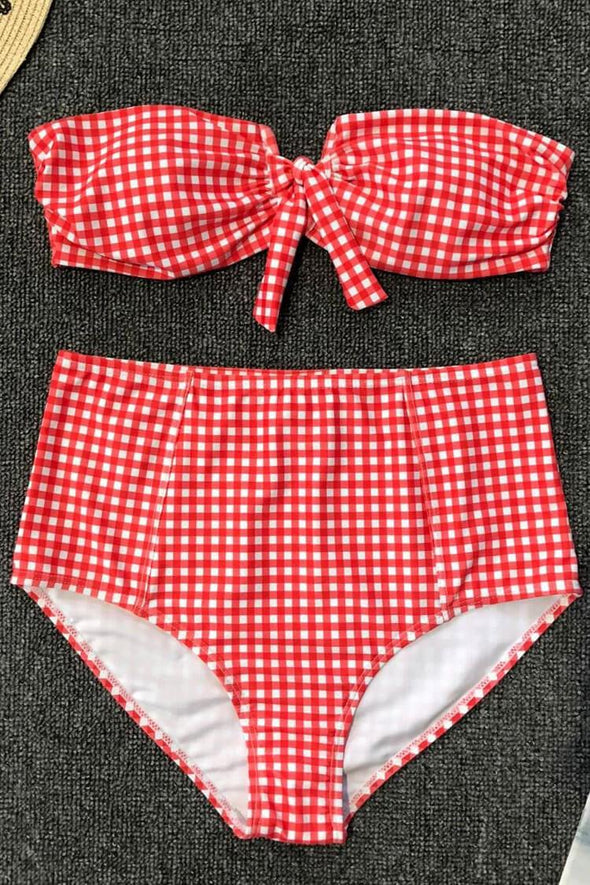 HIGH WAISTED GINGHAM NOTCH FRONT BANDEAU BIKINI - TWO PIECE SWIMSUIT