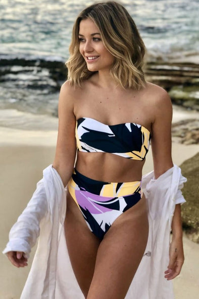 HIGH WAISTED HIGH LEG GEOMETRIC BANDEAU BIKINI - TWO PIECE SWIMSUIT