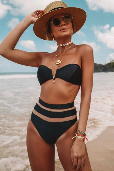 HIGH WAISTED MESH NOTCH FRONT BANDEAU BIKINI - TWO PIECE SWIMSUIT