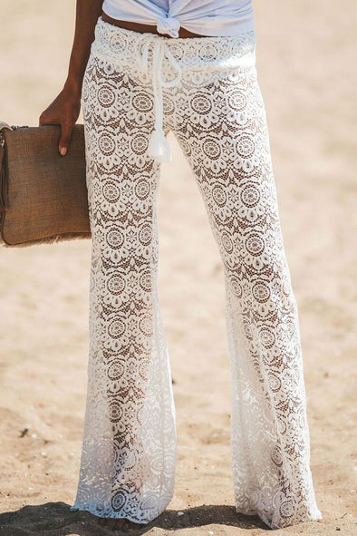 Holiday Drawstring Lace Long Beach Pants