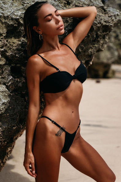 Knotted Front String Bikini Swimsuit - Two Piece Set