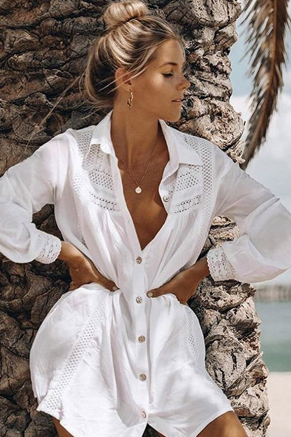 Leisure Sleeved Splicing Lacer Cover Up Blouse