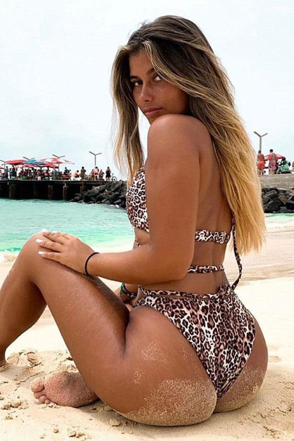 Leopard Crosscriss Strappy Brazilian Cut Halter One Piece Swimsuit