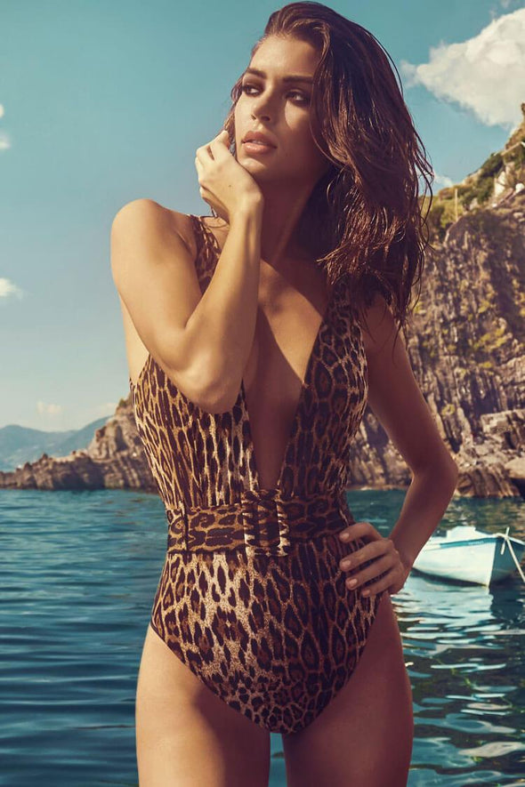 LEOPARD LOW BACK HIGH LEG BELTED DEEP V ONE PIECE SWIMSUIT