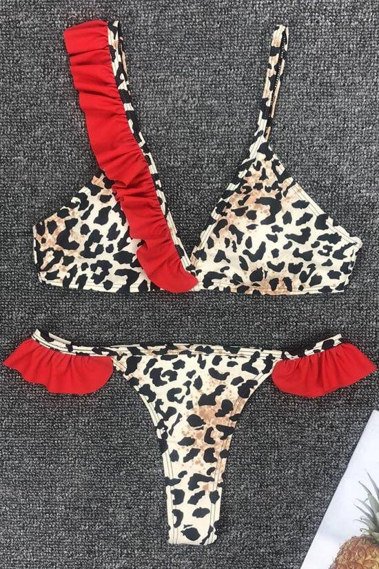 LEOPARD RUFFLE TRIANGLE THONG BIKINI - TWO PIECE SWIMSUIT