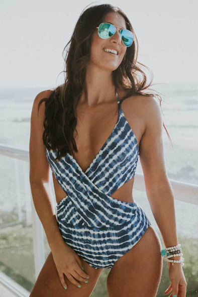 Low Back Tie Dye Striped Wrap Front Monokini One Piece Swimsuit
