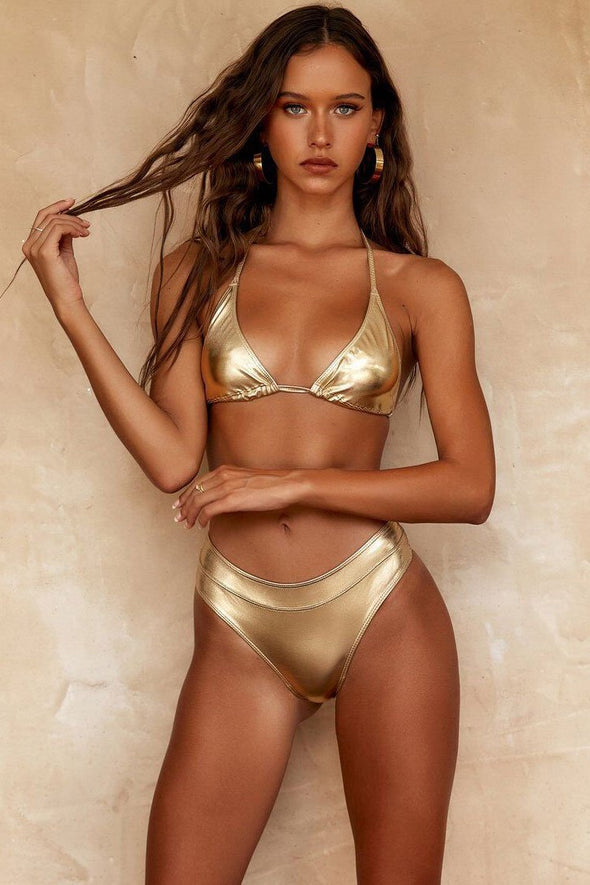 METALLIC SLIDE TRIANGLE BIKINI - TWO PIECE SWIMSUIT