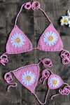 Petal Crochet Slide Triangle Thong Bikini Swimsuit - Two Piece Set