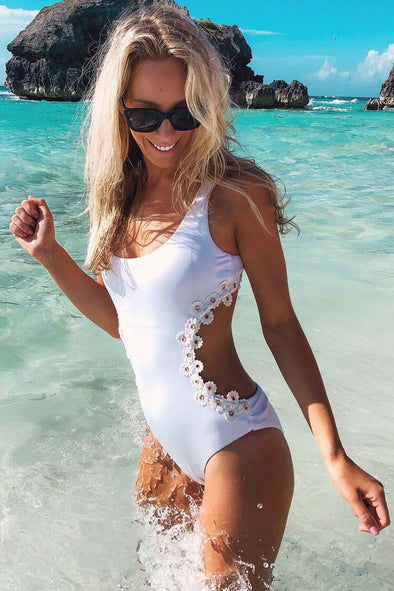 PETAL LACE UP BACK MONOKINI ONE PIECE SWIMSUIT