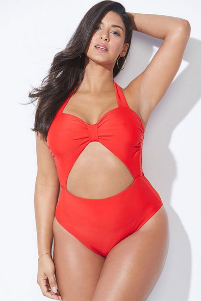 Plus Size Cutout Bowknot Halter One Piece Swimsuit