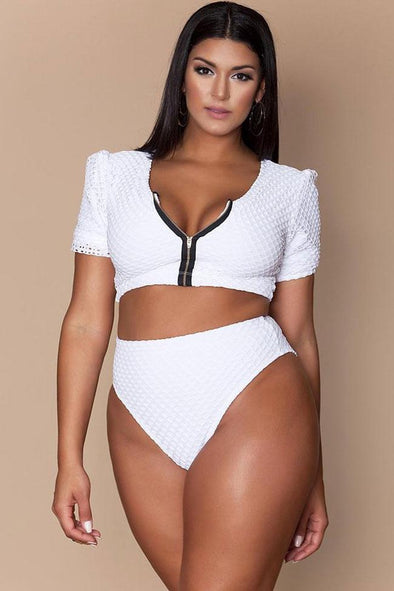 Plus Size High Waist Zip Sleeved Openwork Crop Bikini Swimsuit - Two Piece Set