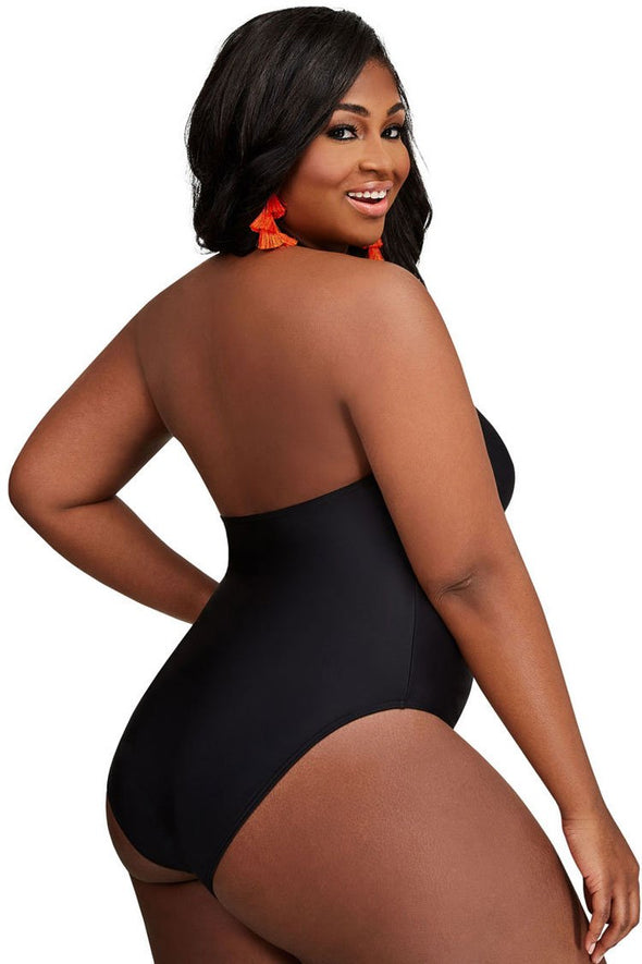 Plus Size Solid Plunged V Neck Halter One Piece Swimsuit