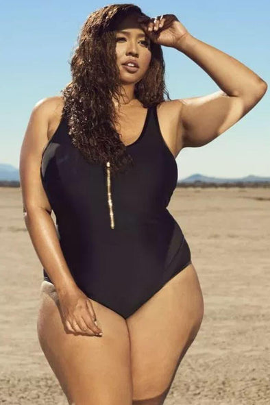 Plus Size Zip Front Splicing Mesh One Piece Swimsuit