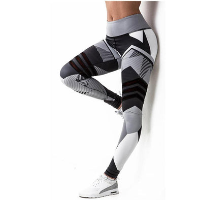 Fitness workout leggings - geometric - Black/White