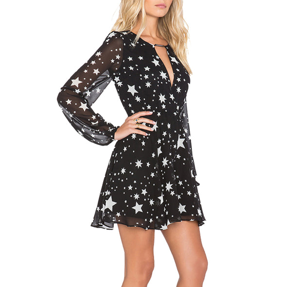 Black Stars Printed Long Sleeve V-neck Sheer Dress