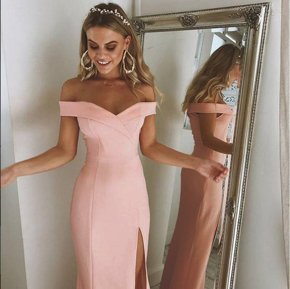 Off Shoulder Sexy Split Maxi Dress