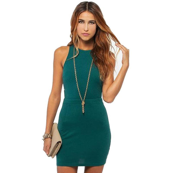 Cut Out Off Shoulder O-neck Sleeveless Dress