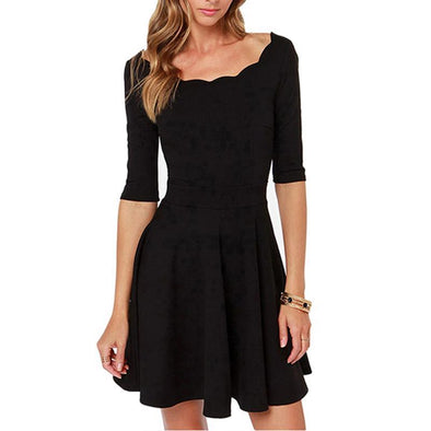 Black Cute Short Sleeve A-line Mini Dress