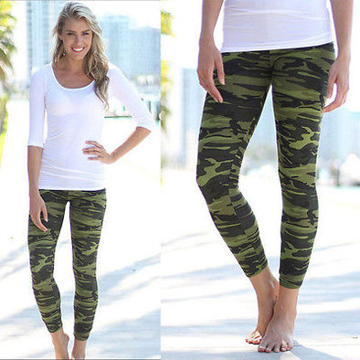 Army Green Camo Camouflage Stretch Leggings