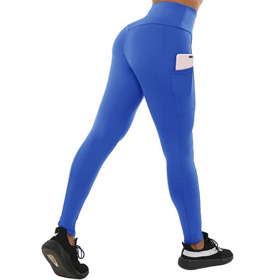 "Fitness workout leggings - ""V"" shape blue - Squat proof - XS/XXXL"