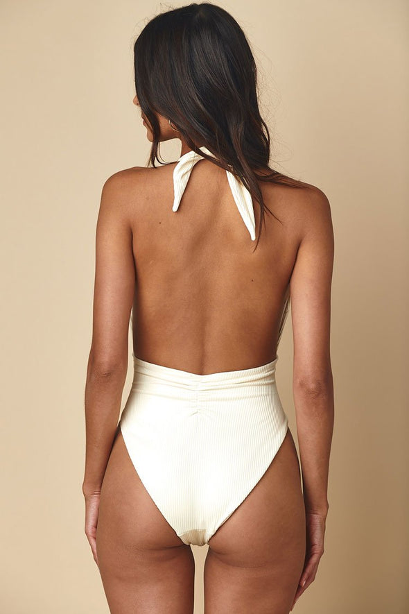 Ribbed Knotted Front Low Back High Leg One Piece Swimsuit