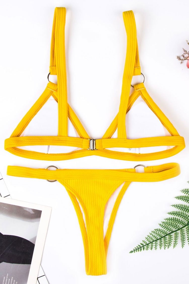 93ea88d98003d Yellow Ribbed Metal Ring Triangle Bikini – elleschic