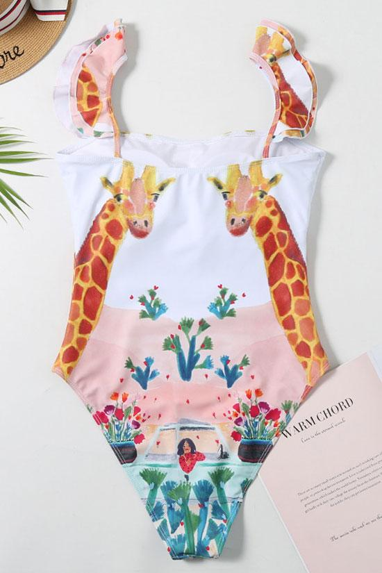 Ruffle Giraffe Painting Bandeau One Piece Swimsuit