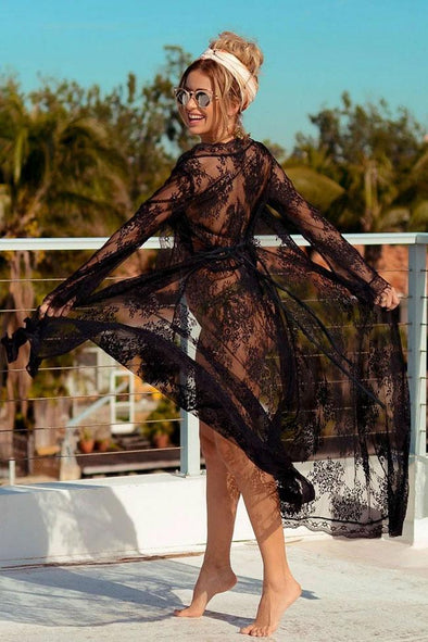 Scalloped Edge Long Sleeve Sheer Lace Maxi Cover Up
