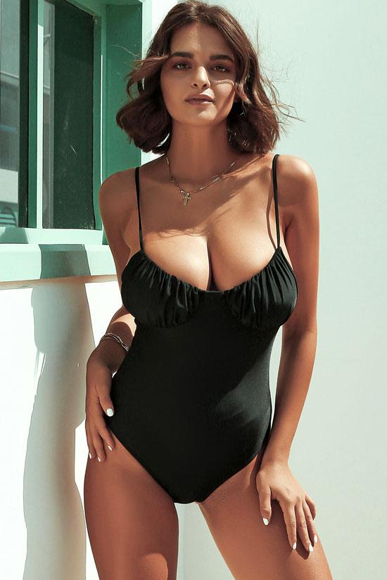 Sexy Ruched Scoop Neck One Piece Swimsuit
