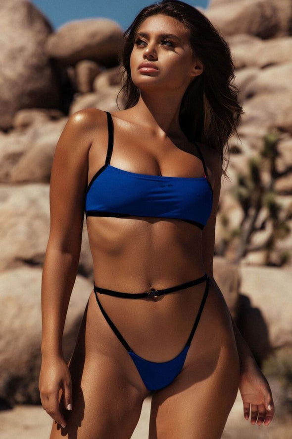SEXY STRAPPY THONG BRALETTE BIKINI - TWO PIECE SWIMSUIT