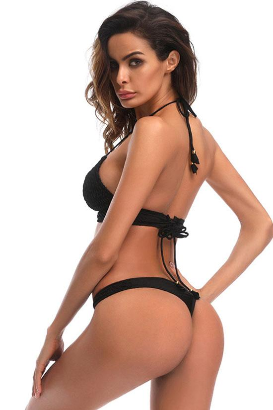 Black Shirred Triangle Brazilian Bikini Swimsuit