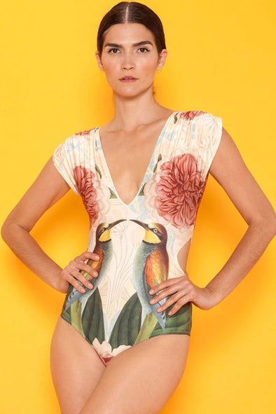 Sleeved Bird Painting Cutout One Piece Swimsuit
