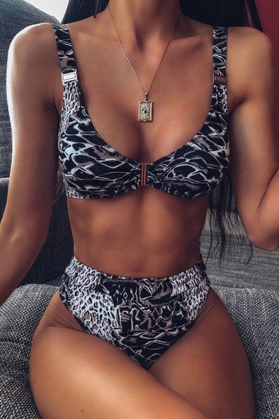 Snake Printed High Leg High Waist Brazilian Bikini Swimsuit - Two Piece Set