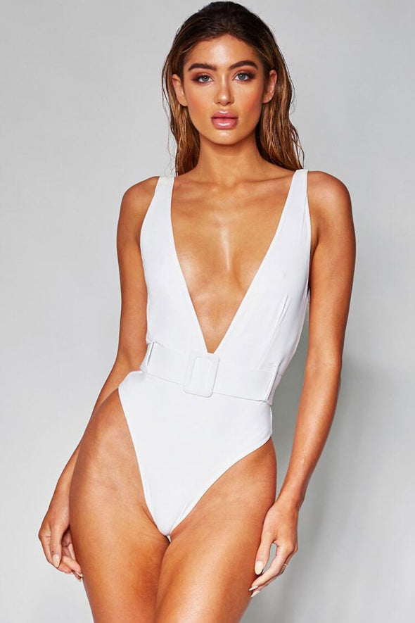 SOLID LOW BACK HIGH LEG BELTED DEEP V ONE PIECE SWIMSUIT
