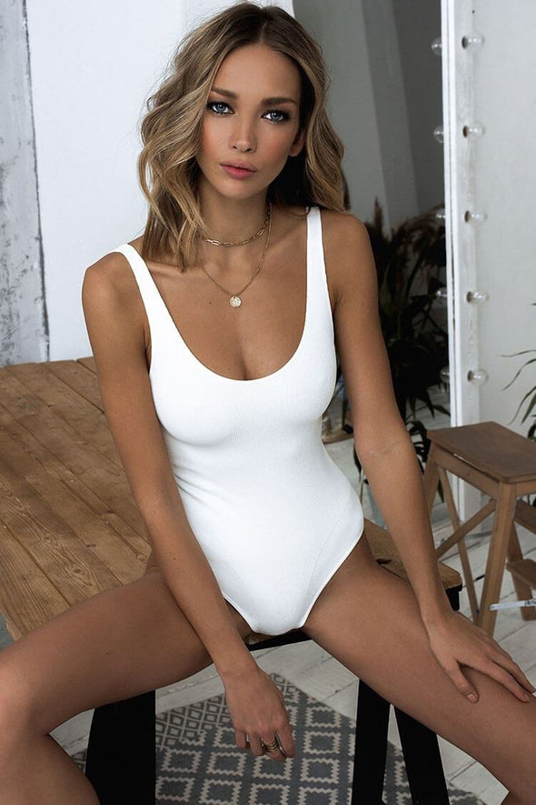 SOLID RIBBED HIGH LEG THONG ONE PIECE SWIMSUIT