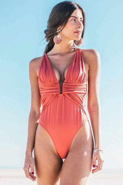 Solid Ruched Detail Plunged Neck One Piece Swimsuit