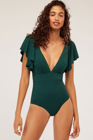 Solid Ruffle Sleeved Plunged Neck One Piece Swimsuit