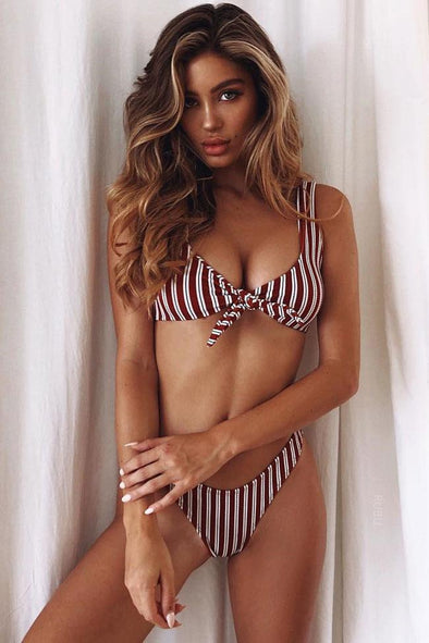 STRIPED HIGH LEG KNOTTED FRONT BIKINI - TWO PIECE SWIMSUIT