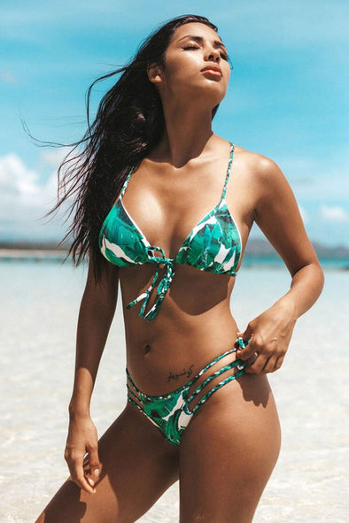 TROPICAL BRAIDED STRAPPY SLIDE TRIANGLE BRAZILIAN BIKINI - TWO PIECE SWIMSUIT