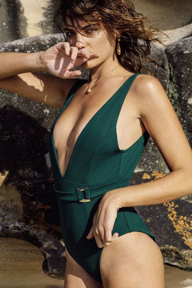 VINTAGE SOLID BELTED DEEP V NECK ONE PIECE SWIMSUIT