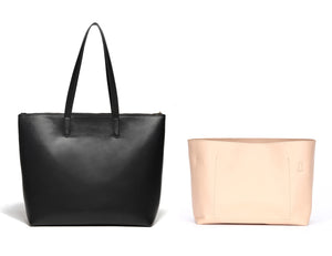 Venice Leather Zipper Tote + Bag Insert Bundle