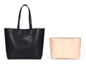 Venice Structured Leather Tote + Bag Insert Bundle