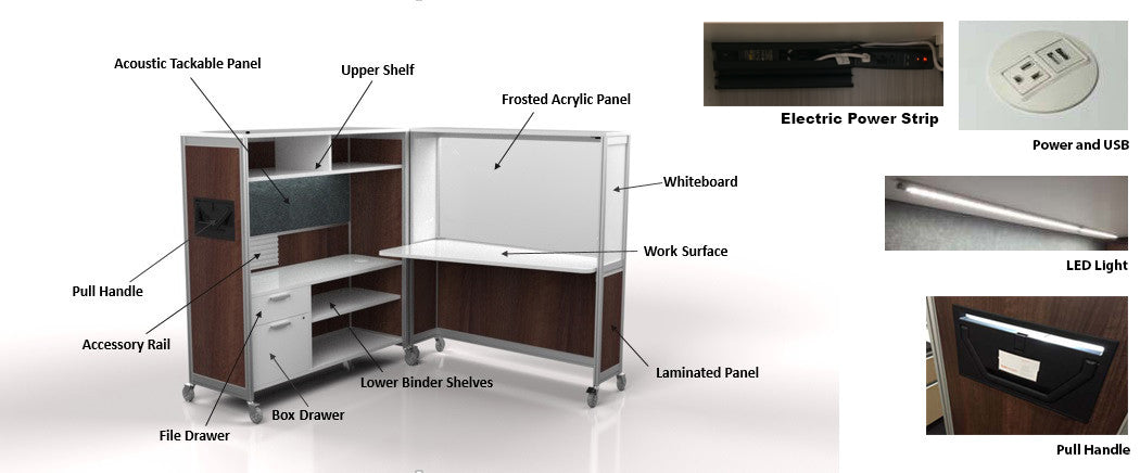 desk on wheels details