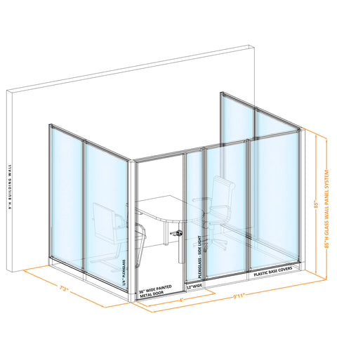 Glass Wall Conference Room 85H U Shape
