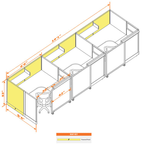 Cubicle With Sliding Door 53H 3pack Inline