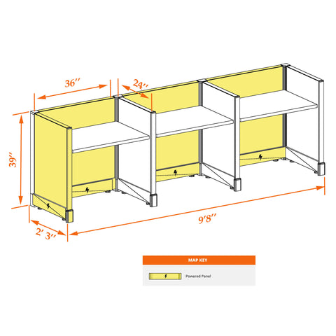 Small Cubicles 39H 3pack Inline Powered
