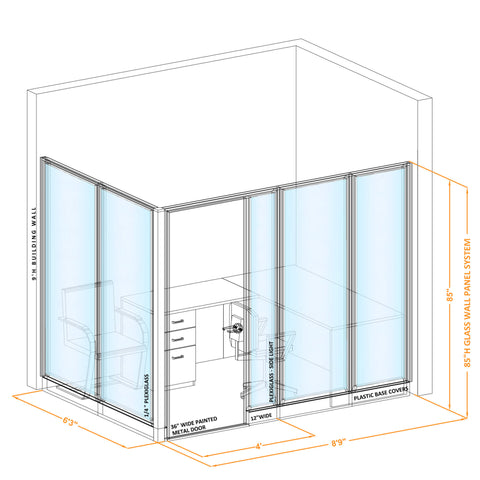 Glass Wall Office 85H L Shape
